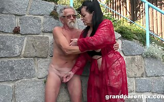 Young girl joins a much-older daring lady for a focus on fourway fuck
