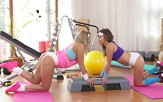 Beautiful girls let someone have their inside passion out to play at the gym