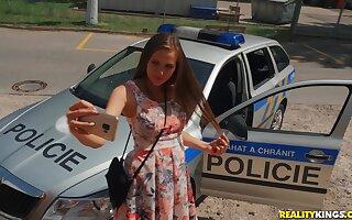 Brutal Cop Erik Everhard punishes chief czech teen Stacy Cruz