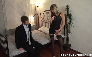 Stripping flat chested GF Gina Gerson kneels down to give nice head