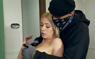 Masked dude ends less fucking the sexy blonde in hardcore