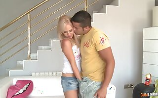 Sexy blonde cowgirl with juicy rack Carla Cox jumps on strong cock