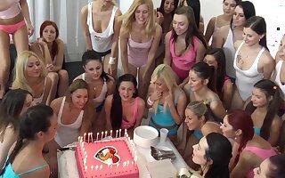 Lot of kinky girls enjoy having disappointing lesbian fun during a birthday
