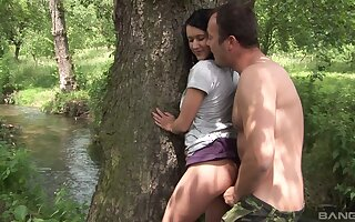 Quickie bonking in the local woods with natural boobs Angelica Skies