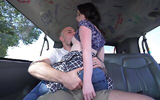 Throated and hard fucked in first bang bus experience