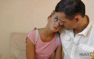 Lovely yellowish girlfriend makes the brush steady old-fashioned cuckold for money