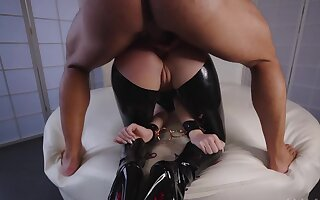 Bearded master fucks succulent ass be advantageous to the latex slave relating to doggystyle