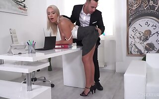 Sexy blonde secretary seduces two governance to take double concentratedly
