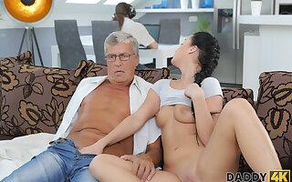 DADDY4K.  Brunette satisfies her sexual needs with older man