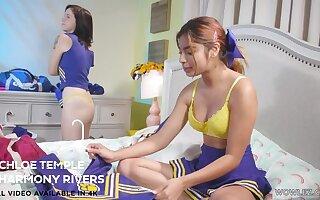 Cheerleader girls Hazel Heart and Remi Jones having funny lesbian sexual congress