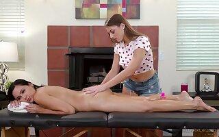 Wonderful naked babes enjoy erotic massage and lesbian scissoring