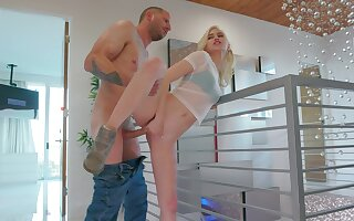 Petite blonde loads step brother's dong right up her vag