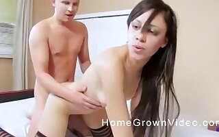 Teen long haired brunette babe fucked doggy style by an older guy