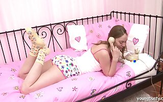 Solo Russian teen in socks playing with her craving for attention puss