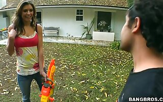 Victoria Lawson and her neighbourhood boyfriend playing games at the backyard