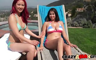 Exotic lesbian bikini teen babes Aja Chachanhsy and Mai at the pool