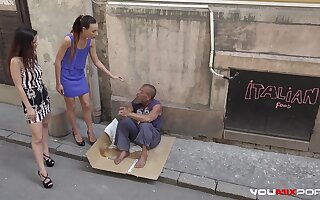 Skinny teen Cayenne and busty babe Darcia Lee pick a homeless man from the streets and fuck him raw