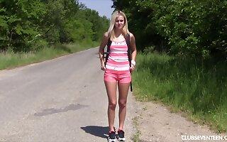 Slender blonde model Joleyn Burst drops her panties to skit