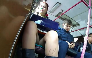 Tight dense cam, upskirt in excess of the bus