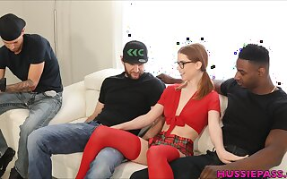 Versatile redhead Dogs Hart feels great fucking with three dudes