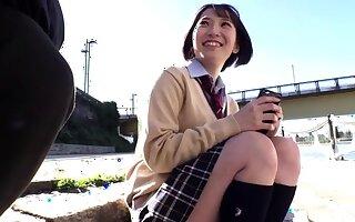 Teeny-weeny Japanese teen in black maid uniform creampied in bed